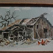 JAKE LEE (1915-1991) regional art California Scene plein air watercolor and ink drawing of a b