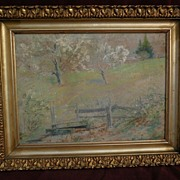 FRANK J. GIRARDIN (1856-1945) Indiana and California impressionist pastel drawing of spring la