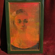 Signed modernist painting of a woman possibly by EDWARD REEP (1918-2013) noted California arti