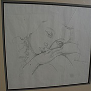 FEDERICO CANTU (1908-1989) important Mexican art modernstic ink drawing of a woman dated 1950