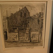 JAMES CARL HANCOCK (1898-1966) Southern American art New Orleans Louisiana etching print by Ar