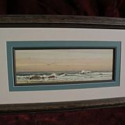EPHRAIM FRANK LINCOLN (circa 1900) American signed 19th century coastal watercolor painting ..
