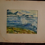 BURR SINGER (1912-1992) California watercolor painting of sailboats dated 1953 by well listed