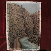Vintage Colorado art 1925 signed painting of mountain canyon near Estes Park
