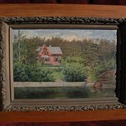 Scandinavian art antique Swedish painting of a quaint lakeside house by ALMA HALLSTEINSON (185