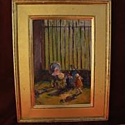 RACHEL HARTLEY (1884-1955) American art social realist era painting by granddaughter of George