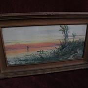 WILLIAM WILSON COWELL (1819-1898) American 19th century art watercolor tropical scene in ...
