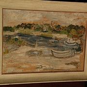 LUCILE BROKAW (1915-1984) gouache 1948 painting of harbor boats by noted socialite model paint