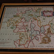Antique map of Worcestershire England circa early 1700's by Robert Morden with later hand colo