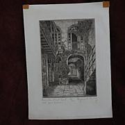 EUGENE F. LOVING (1908-1971) New Orleans Louisiana art original pencil signed etching of Frenc