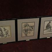 EDUARDO PASCUAL MONTURIOL (1886-1933) Spanish Uruguayan artist **THREE** mixed media drawings