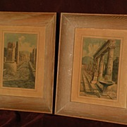 PAIR of 20th century Italian watercolors of Pompeii ruins signed dated 1952