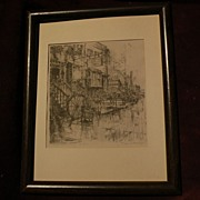 "EUGENE FRANDZEN (1893-1972) California listed art pencil signed lithograph print ""Old Cur"