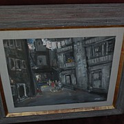JEAN LIBERTE (1896-1965) painting of urban tenements by noted American painter and teacher