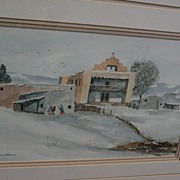 New Mexico art winter landscape with adobe church Southwest watercolor painting signed