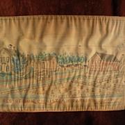 19th century American folk art Ft. Wayne Indiana drawing of an early estate homestead