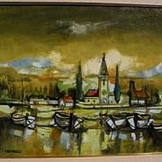 JORDI BONAS (1937-) Spanish contemporary art harborside painting with church Ecole de Paris st