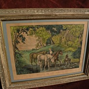 """Large folio Currier and Ives 1867 lithograph print """"Horses at the Ford"""""""