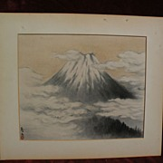 Japanese art vintage watercolor painting of Mt.Fujiyama above the clouds signed