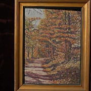 Signed impressionist American painting of autumn forest landscape with road