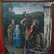 SILVIO CONSADORI (1909-1994) double sided painting of religious subject by well listed Italian