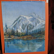 Pastel landscape drawing of Mount Baker, Washington signed with initials