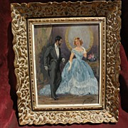 YVES DIEY (1892-1984) French figurative art elegant salon couple painting by well listed artis
