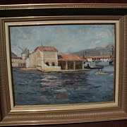LOUIS MICHEL BERNARD (1885-1962) impressionist oil painting of Mediterranean port by noted Fre