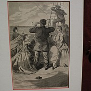"WINSLOW HOMER (1836-1910) original wood engraving 1863 print ""Approach of the British Pir"