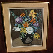 HENRI d'ANTY (1910-1998) colorful still life floral painting by well listed School of Paris pa