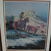 JOE BEELER (1931-2006) pencil signed limited edition print of cowboy on horse by well ...