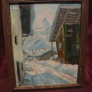 Impressionist painting of Tyrolean village in deep snow mid 20th century