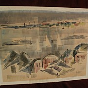 ALFRED BIRDSEY (1912-1996) Bermuda art original watercolor painting with a cubist feeling