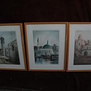 Israeli art SET OF THREE signed dated original pastel drawings of Holy Land buildings