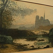 MANUEL ROBBE (1872-1936) important French printmaker desirable Paris scene of Notre Dame at Tw