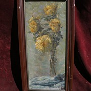 Vintage impressionist still life painting flowers in a vase signed indecipherably