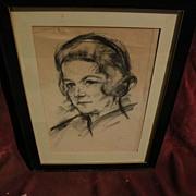JOSEF FLOCH (1895-1977) signed original charcoal portrait drawing by important Austrian ...