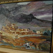 Taos New Mexico original art poetic signed pueblo landscape