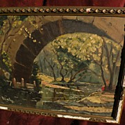 American impressionist signed landscape painting figures under an arched stone bridge by a sma