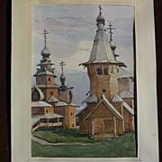 NIKOLAI TROSCHENKOV (1961-) Russian art 1989 original watercolor painting of the Museum of Woo