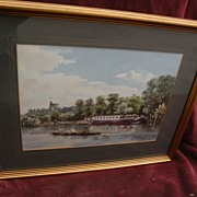 English contemporary signed watercolor painting Thames riverboats by Windsor Castle