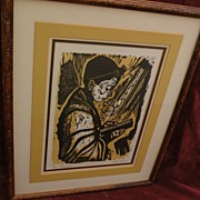 IRVING AMEN (1918-) original limited edition pencil signed woodblock print by noted Jewish Ame