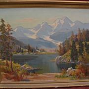 OLIVER GLEN BARRETT (1903-1970) California plein air art high mountain impressionist landscape