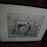 EDWILL FISHER (1896-) American art circa 1930 pencil signed etching of figures in an interior