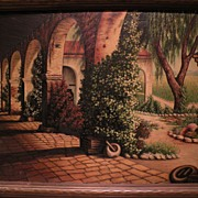 California art vintage signed large oil painting of mission courtyard