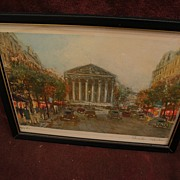 CHARLES BLONDIN (1913-) Paris impressionist street scene pencil signed limited edition color .