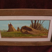 SOLD JOSEPH HOLBROOK (1946-) Western American art original gouache painting of tipis on the pl