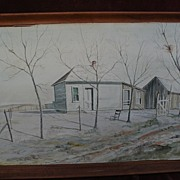JOHN LIGGETT MEIGS (1916-2003) original Southwest watercolor landscape painting by realist pai