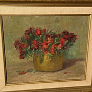 Decorative signed impressionist European floral still life painting dated 1946