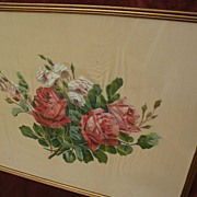 Painting of roses for shabby chic style interior
